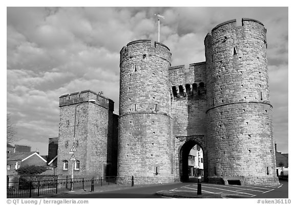 West gate to the medieval town. Canterbury,  Kent, England, United Kingdom (black and white)