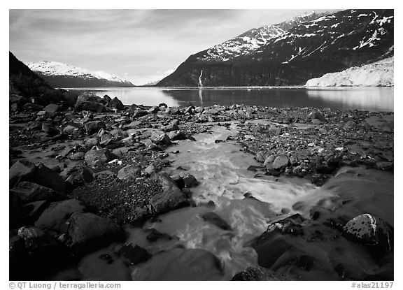Stream, fjord, glacier, and waterfall, Barry Arm. Prince William Sound, Alaska, USA (black and white)
