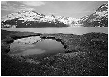 Pond, mountains, and glaciers across Harriman Fjord. Prince William Sound, Alaska, USA (black and white)