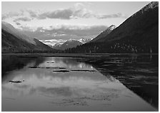 Evening Reflections, Lake Tern. Alaska, USA (black and white)