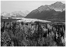 Matanuska Glacier in the fall. Alaska, USA ( black and white)