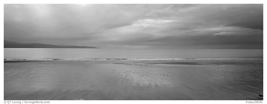 Seascape with wet beach and clouds. Homer, Alaska, USA (black and white)