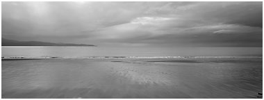 Seascape with wet beach and clouds. Homer, Alaska, USA (Panoramic black and white)