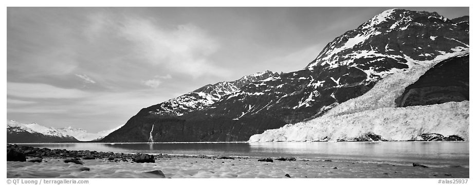Landscape with tidewater glacier and waterfall. Prince William Sound, Alaska, USA (black and white)