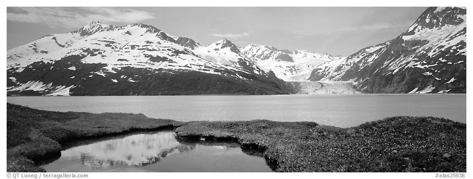 Fjord with snowy mountains. Prince William Sound, Alaska, USA (black and white)