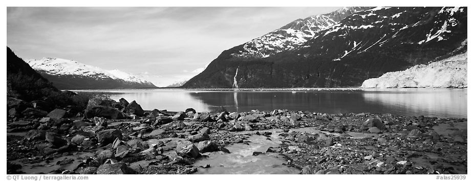 Fjord seascape with tidewater glacier. Prince William Sound, Alaska, USA (black and white)