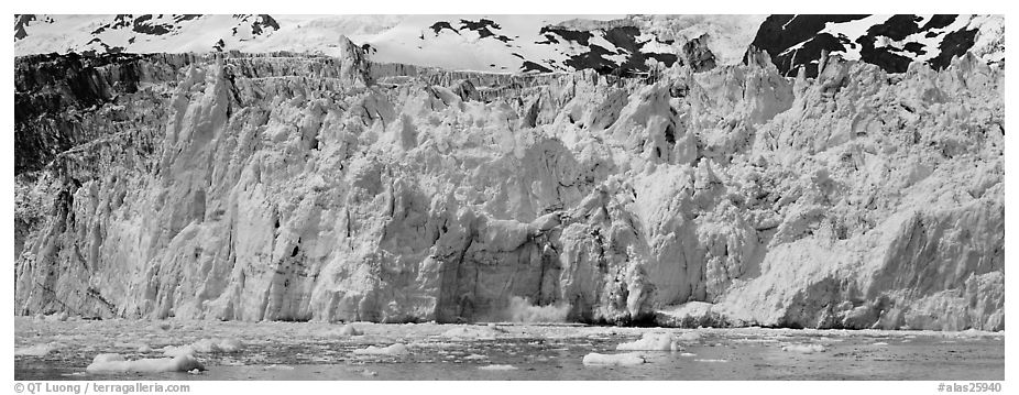 Front of tidewater glacier. Prince William Sound, Alaska, USA (black and white)