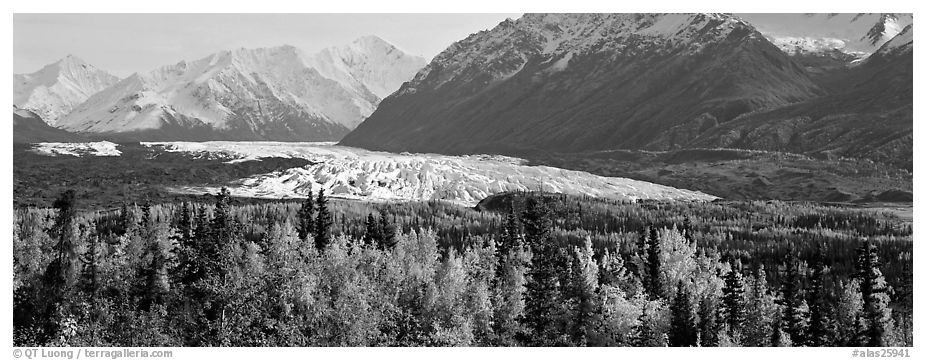 Autumn landscape with glacier. Alaska, USA (black and white)