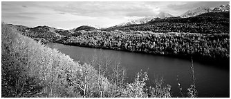 Autumn landscape with forest, lake, and mountains. Alaska, USA (Panoramic black and white)
