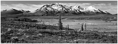 Tundra autumn scenery with snowy peaks. Alaska, USA (Panoramic black and white)
