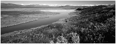Tundra, lake, and mountains in autumn. Alaska, USA (Panoramic black and white)