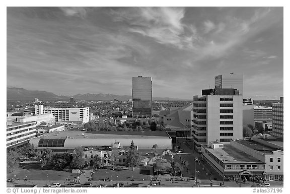 Downtown Anchorage from above. Anchorage, Alaska, USA (black and white)