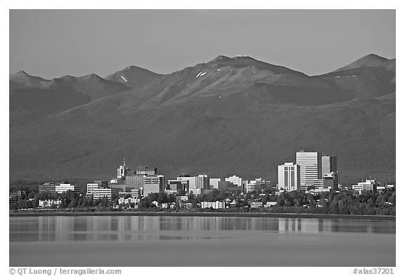 Skyline at sunset. Anchorage, Alaska, USA