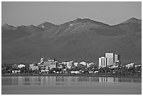 Skyline at sunset. Anchorage, Alaska, USA (black and white)