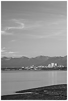 Anchorage skyline at sunset. Anchorage, Alaska, USA (black and white)