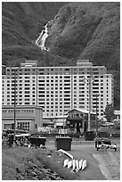 Boat ramp, Begich towers and Horsetail falls. Whittier, Alaska, USA (black and white)
