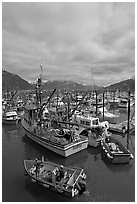 Fishing boats in harbor. Whittier, Alaska, USA ( black and white)