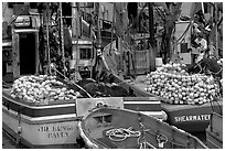 Commercial fishing boats. Whittier, Alaska, USA ( black and white)