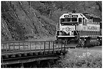 Alaska railroad locomotive. Whittier, Alaska, USA ( black and white)