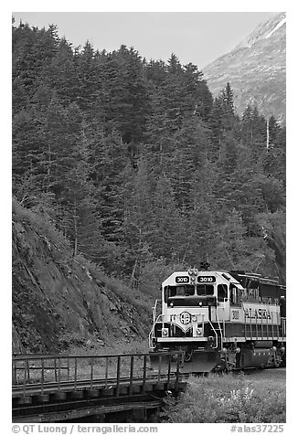 Locomotive and forest. Whittier, Alaska, USA (black and white)