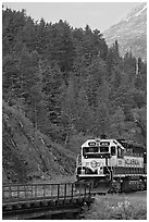 Locomotive and forest. Whittier, Alaska, USA ( black and white)