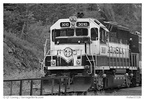 Alaska train locomotive. Whittier, Alaska, USA (black and white)