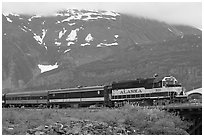Alaska train. Whittier, Alaska, USA ( black and white)