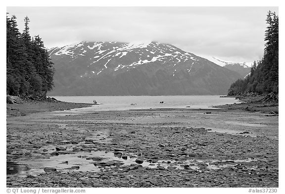 Cove and Passage Canal Fjord. Whittier, Alaska, USA (black and white)