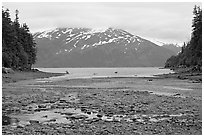 Cove and Passage Canal Fjord. Whittier, Alaska, USA ( black and white)