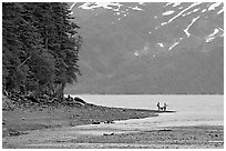 Women fishing and dog, at the edge of Passage Canal Fjord. Whittier, Alaska, USA ( black and white)