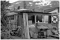 School bus reconverted for housing. Whittier, Alaska, USA ( black and white)