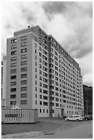 Begich towers, home to half of Whittier population. Whittier, Alaska, USA ( black and white)