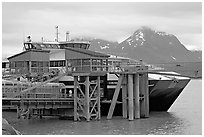 High Speed catamaran Chenega of Alaska Marimite Highway unloading in Valdez. Alaska, USA ( black and white)