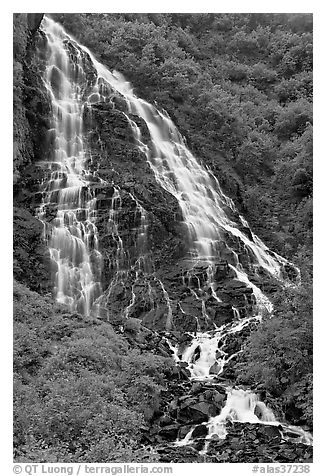 Horsetail Falls, Keystone Canyon. Alaska, USA (black and white)