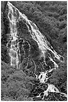 Horsetail Falls, Keystone Canyon. Alaska, USA ( black and white)