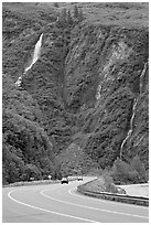 Richardson Highway and waterfalls, Keystone Canyon. Alaska, USA (black and white)