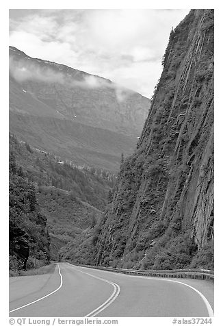 Richardson Highway passing between steep walls, Keystone Canyon. Alaska, USA