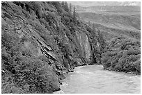 River, vegetation covered rock walls, Keystone Canyon. Alaska, USA (black and white)