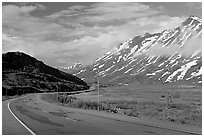 Richardson Highway below Thompson Pass. Alaska, USA ( black and white)