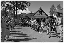 Egg throwing contest. McCarthy, Alaska, USA (black and white)