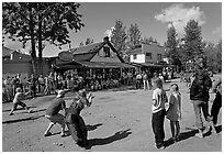 4th of July egg throwing contest. McCarthy, Alaska, USA ( black and white)