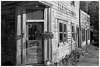 Weathered old hardware store. McCarthy, Alaska, USA (black and white)