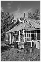 House with antlers and american flag. McCarthy, Alaska, USA ( black and white)