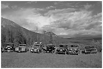 Row of classic cars lined up in meadow. McCarthy, Alaska, USA ( black and white)