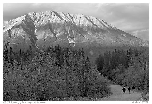 People strolling on unpaved road at sunset. McCarthy, Alaska, USA (black and white)