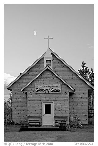 Community church and moon. McCarthy, Alaska, USA (black and white)
