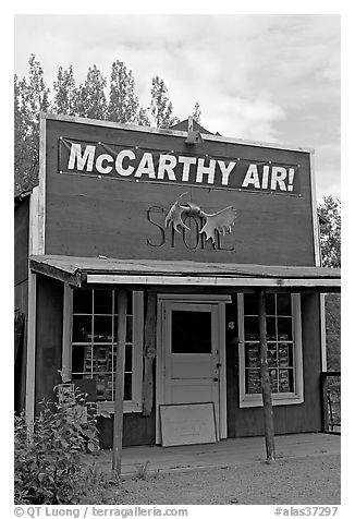 Old store building. McCarthy, Alaska, USA (black and white)