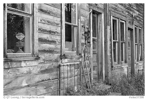 Detail of old wooden building. McCarthy, Alaska, USA (black and white)