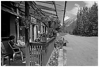 McCarthy lodge and main street. McCarthy, Alaska, USA ( black and white)