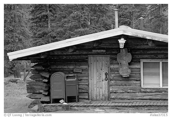 Log house post office, Slana. Alaska, USA